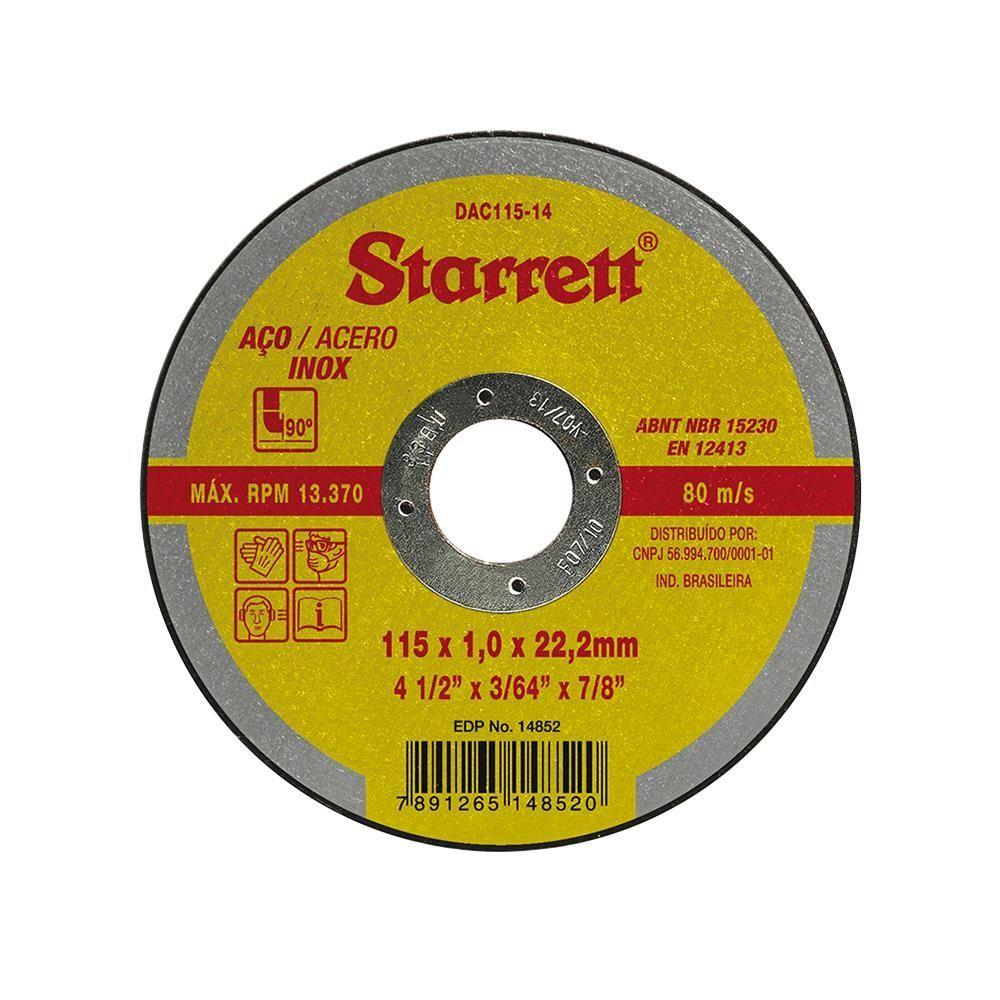 """Disco de Corte Inox 4,5"""" - Starrett"""