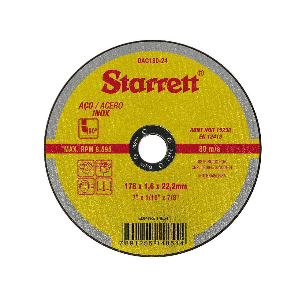 """Disco de Corte Inox 7"""" - Starrett"""