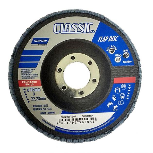 """Disco Flap Classic 4,5"""" - Grão 80 Norton"""